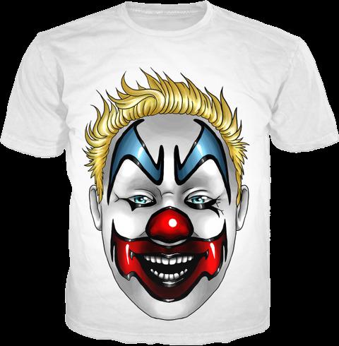 White T-Shirt Clown Face